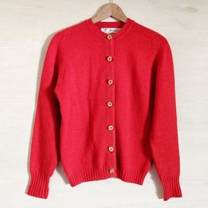 Braemar Red Wool Cardigan with Wood Buttons